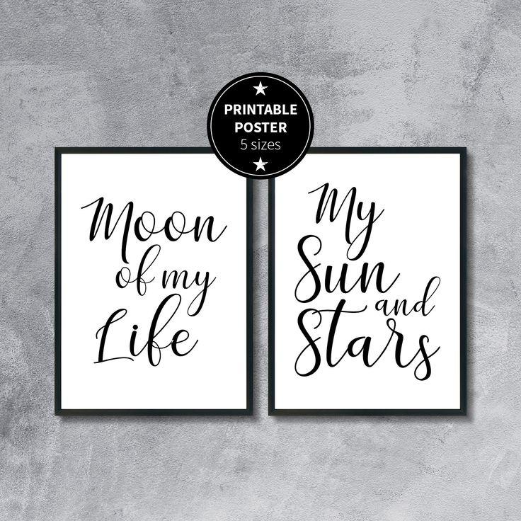 Moon Life Sun Stars | Poster zum Selbstdruck | 5 Formate | Schwarz & Weiß | Geschenk | Einzugsgeschenk | Liebe | Hochzeit | Verlobung