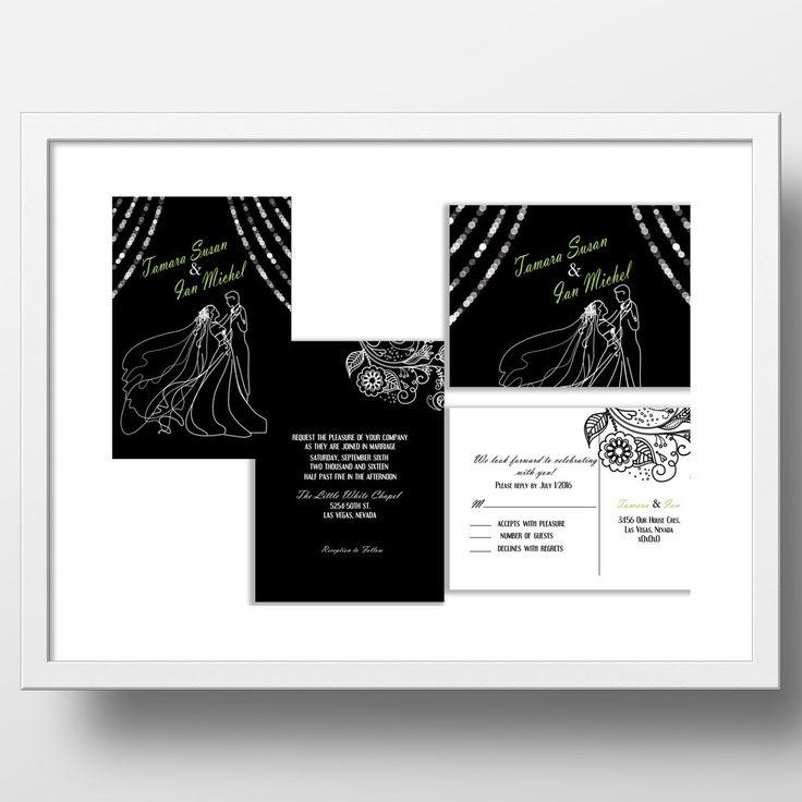 Black and White Wedding Invitation with Wedding Couple