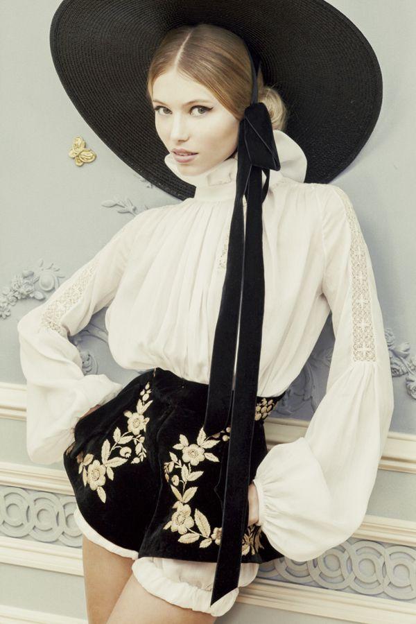 White poet shirt and black velvet shorts | Ulyana Sergeenko haute couture spring/summer 2013