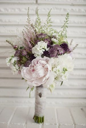 Purple Wedding Bouquet - love the touches of pink and the greenery!