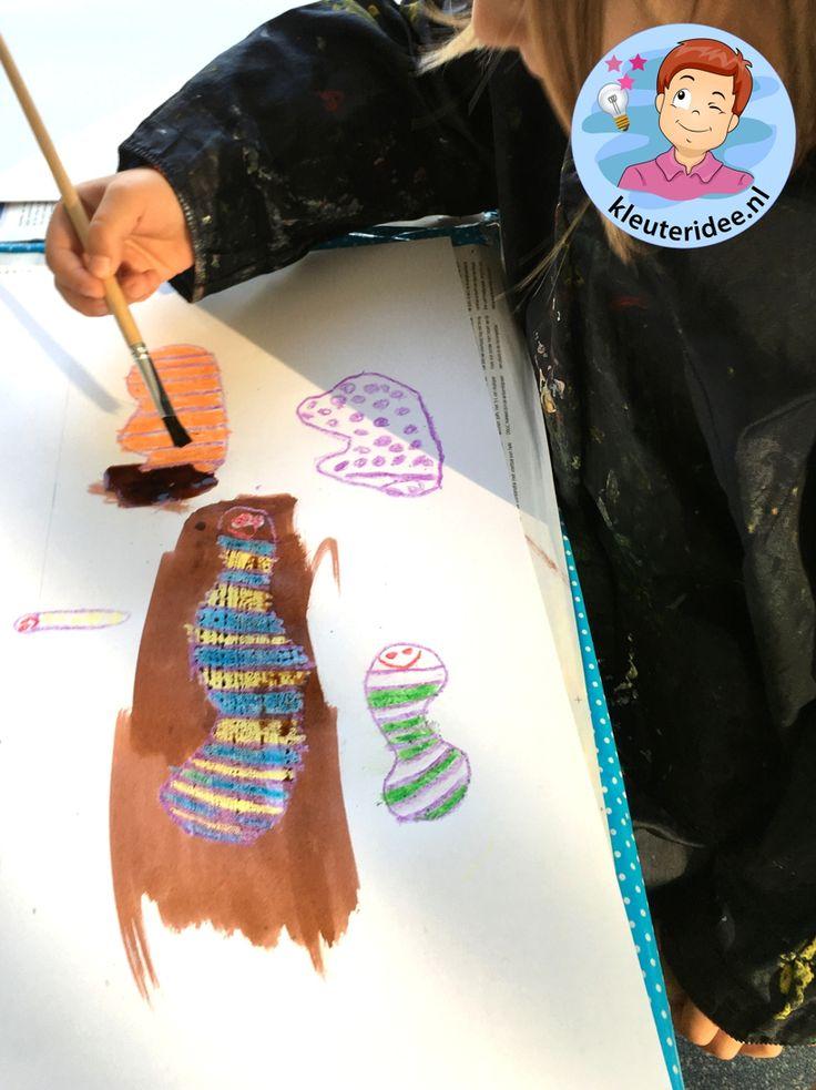 collage met worm, Kindergarten worms craft, kleuteridee.nl 2