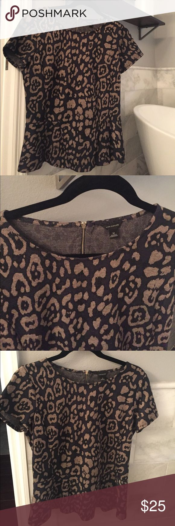Ann Taylor Peplum Top Animal print jacquard peplum top Zip up back Excellent condition Super soft material Ann Taylor Tops