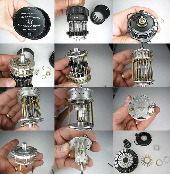 La calculadora mecanica de bolsillo CURTA     Sin pilas, pura mecanica, inventada en 1938 por Curt Herzstark y perfeccionada en un campo de concentracion Nazi. Fue bastante famosa y la mas eficiente calculadora de bolsillo hasta que se popularizaron las calculadoras electricas en los 70.