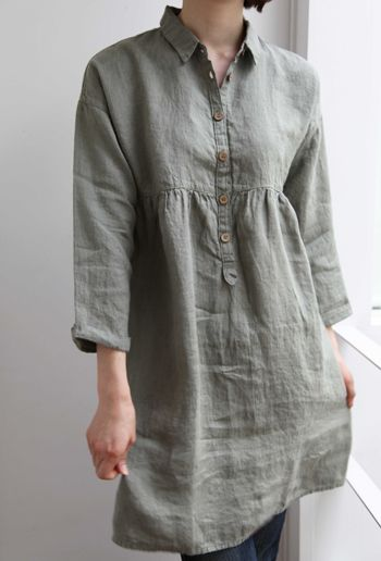 grey linen tunic, Lino e Lina オンラインストア