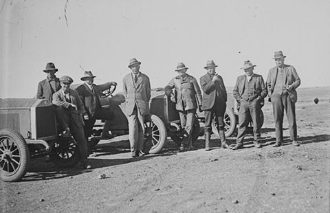 Members of the 1923 vice-regal expedition to central Australia: (from left) Herbert Basedow, Captain Hambleton, Murray Aunger, Sir Tom Bridges (Governor of South Australia), WA Webb, Sir Henry Barwell (Premier of South Australia), Thomas McCallum and NG Bell. Taken by an unknown photographer using Basedow's camera at an unknown place.