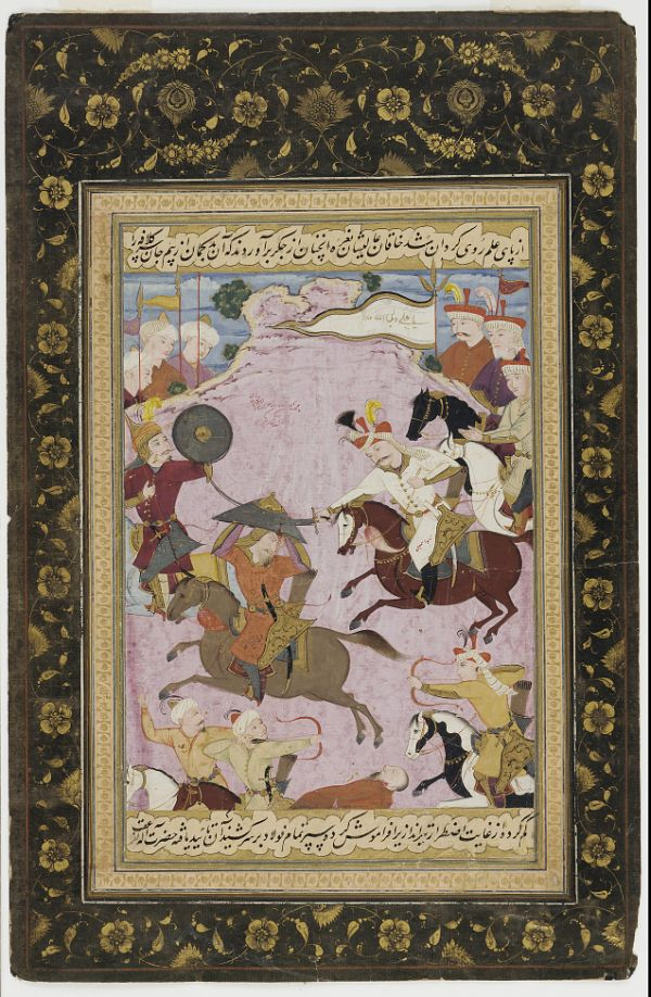 Folio from the Tarikh-i alam-aray-i Shah Ismail (The world adorning history of Shah Ismail); The Battle between Shah Ismail and Abul-khayr Khan  TYPE Detached manuscript folio MAKER(S) Author: Bijan Artist: Mu'in Musavvir (or a follower) HISTORICAL PERIOD(S) Safavid period, circa 1688 MEDIUM Opaque watercolor and ink on paper DIMENSION(S) H x W (painting): 19.9 × 15.1 cm (7 13/16 × 5 15/16 in) GEOGRAPHY Iran, Isfahan