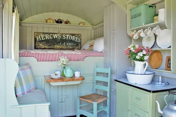 Vintage trailer (love the enamel topped cabinet and the bread bin)
