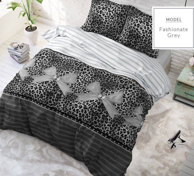 Sivé posteľné obliečky s leopardím vzorom a mašličkami