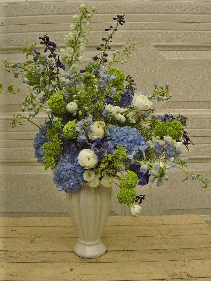 Gorgeous delphinium hydrangea and ranunculus arrangement for Flower arrangements with delphinium