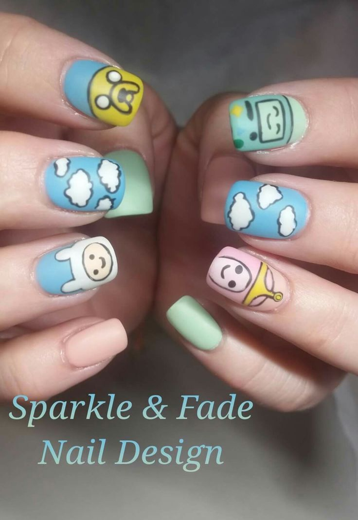 Handpainted Adventure Time Nails  - Done by Christine Ingalls of Sparkle and Fade Nail Design  https://www.facebook.com/SparkleAndFadeNailDesign