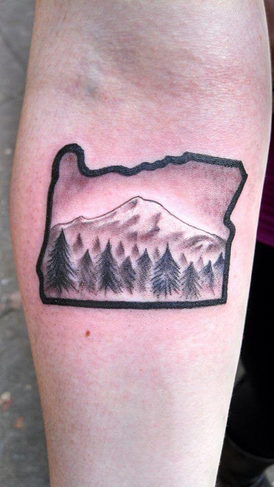 My Oregon tattoo with Mt. Hood #oregontattoo # ...