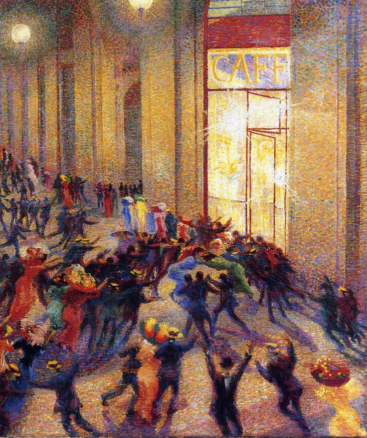 """Umberto Boccioni """"Riot in the Galleria"""" 1909 Oil on canvas, Pinacoteca di Brera, Milan"""