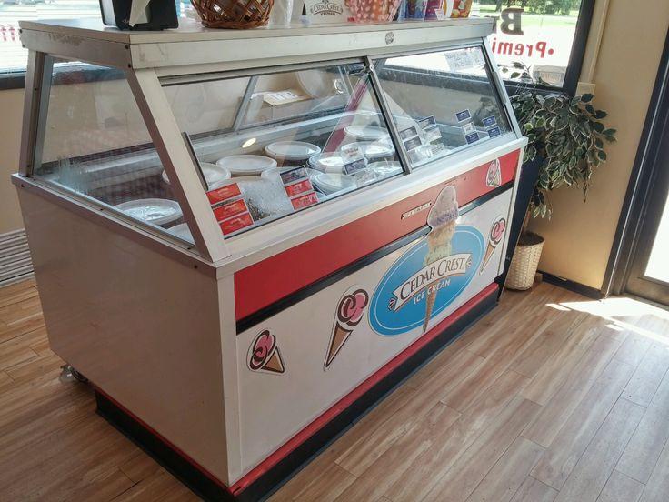 Cedar Crest Ice Cream magnetics on ice cream case. #Northern Wisconsin.