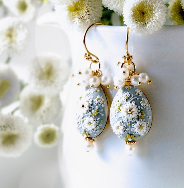Something Blue. Beautiful hand made hand appliqued polymer clay earrings. MADE TO ORDER - Eva Thissen