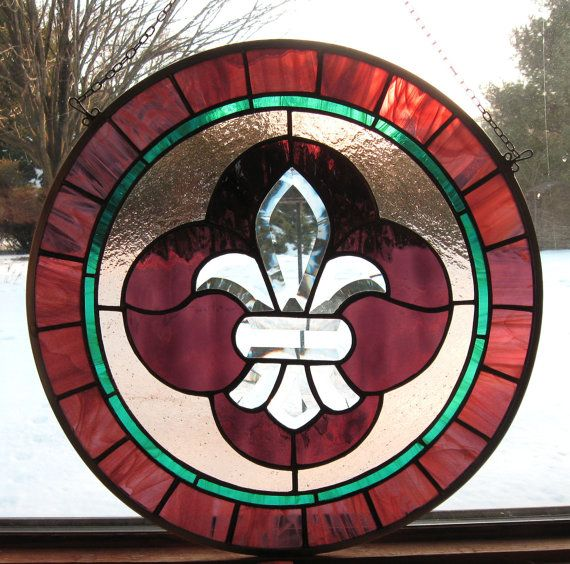 Toulouse Round Mardi Gras Stained Glass Panel purple