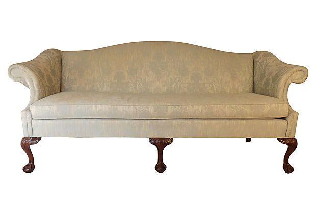 Sherrill Camel Back Sofa With Carved Mahogany Legs