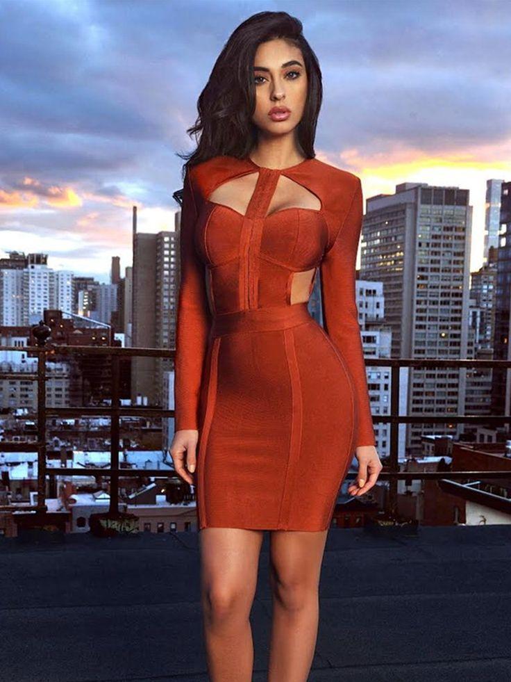 Ximena Cutout Detail Rust Long Sleeve Bandage Dress