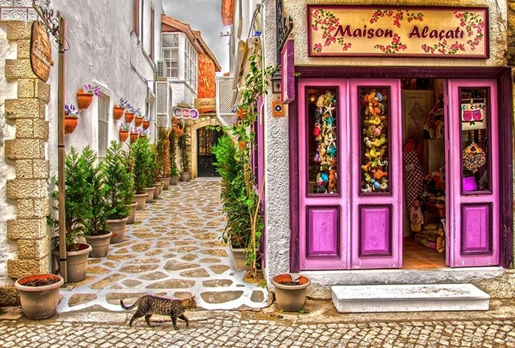 Street in the Aegean coast resort of Alacati in Izmir, Turkey