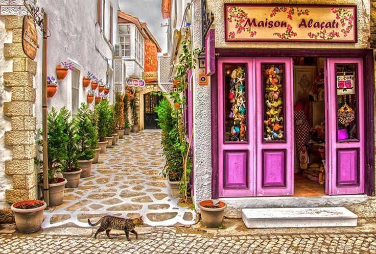 Street in the Aegean coast resort of Alacati in Izmir, Turkey