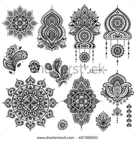 Indian floral set. Ethnic Mandala ornament. Vector Henna tattoo style. Can be us… – Mehndi