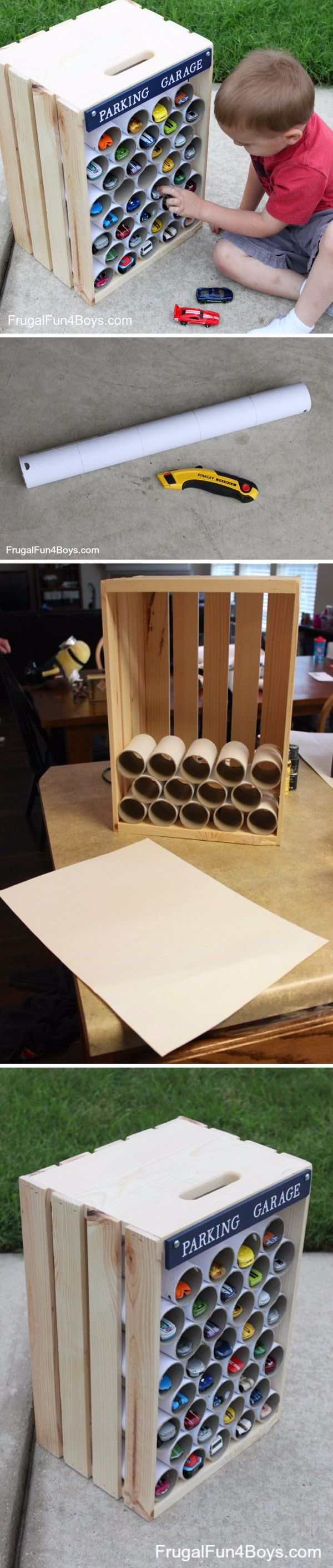 DIY Crate Hot Wheels Storage for Kids.