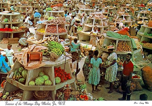 Interior of the Montego Bay Market, Jamaica