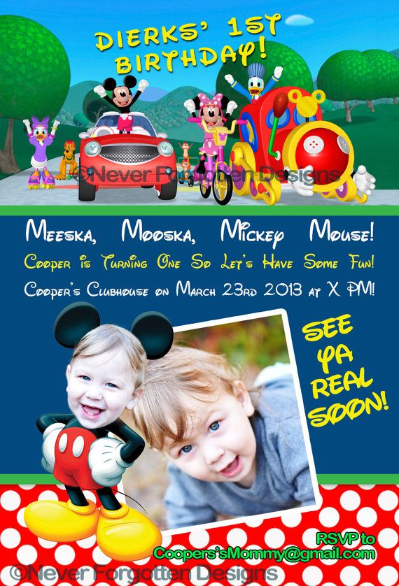 Mickey Mouse Clubhouse Birthday Party Invitations with Photo Where Your Child Is The Star on Etsy, $12.99