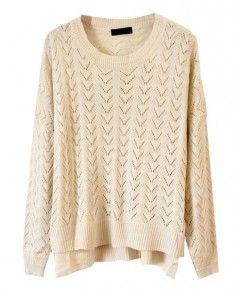 Beige Irregular Edges Hollow Out Sweater