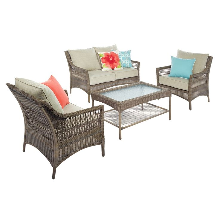 Shop allen + roth  Claremont 4-Piece Conversation Set at Lowe's Canada. Find our selection of outdoor conversation sets at the lowest price guaranteed with price match + 10% off.