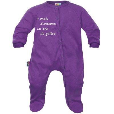 Pyjama bébé message : 9 mois d'attente (7 coloris)