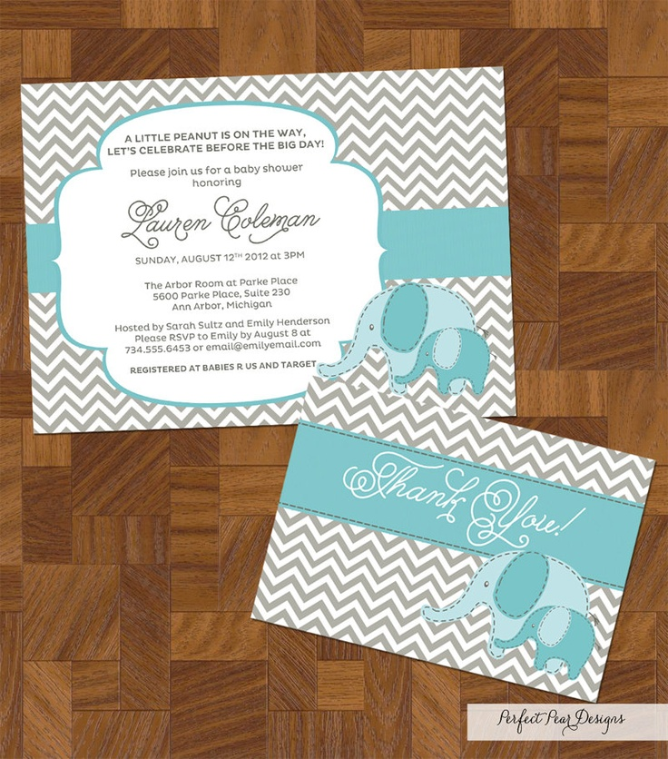 baby shower invitation for twins%0A Baby Shower Invitation  u     Thank You Card Combo  Baby Elephant  Little  Peanut  Chevron
