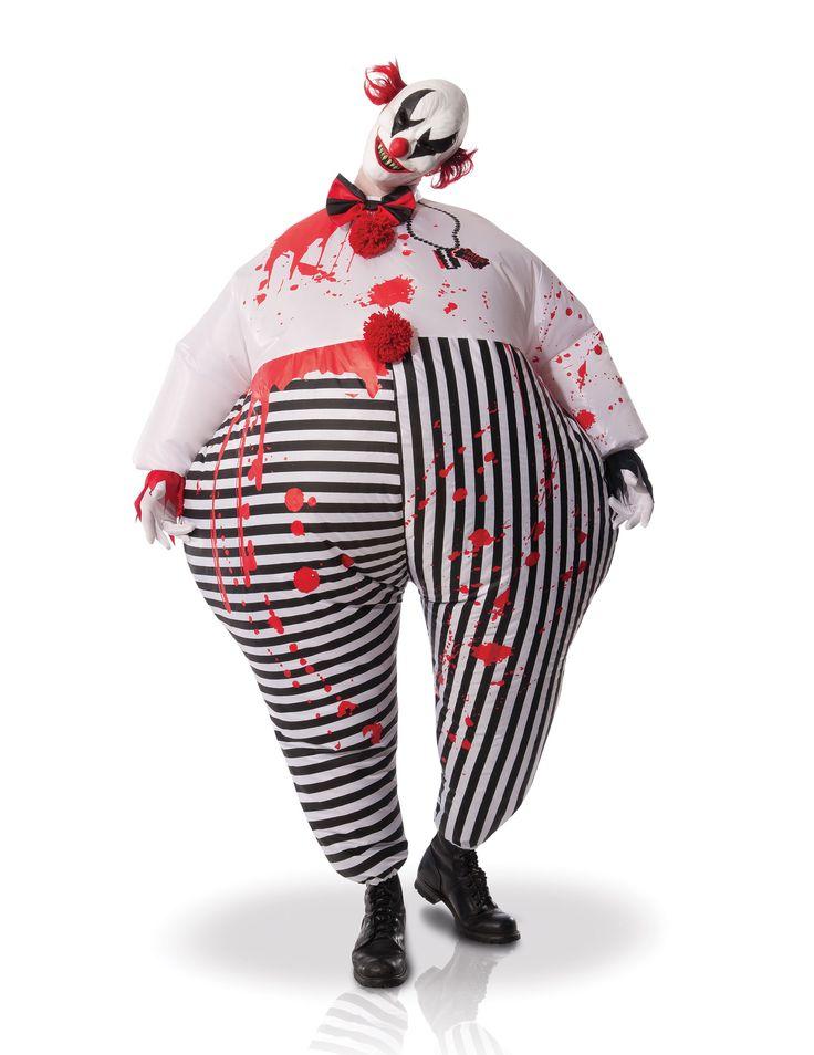 Déguisement adulte Clown de l'enfer gonfable : Ce déguisement pour adulte est composé d'une combinaison, d'un masque et d'un ventilateur (chaussures et gants non inclus).La tenue de clown tueur est léger et...