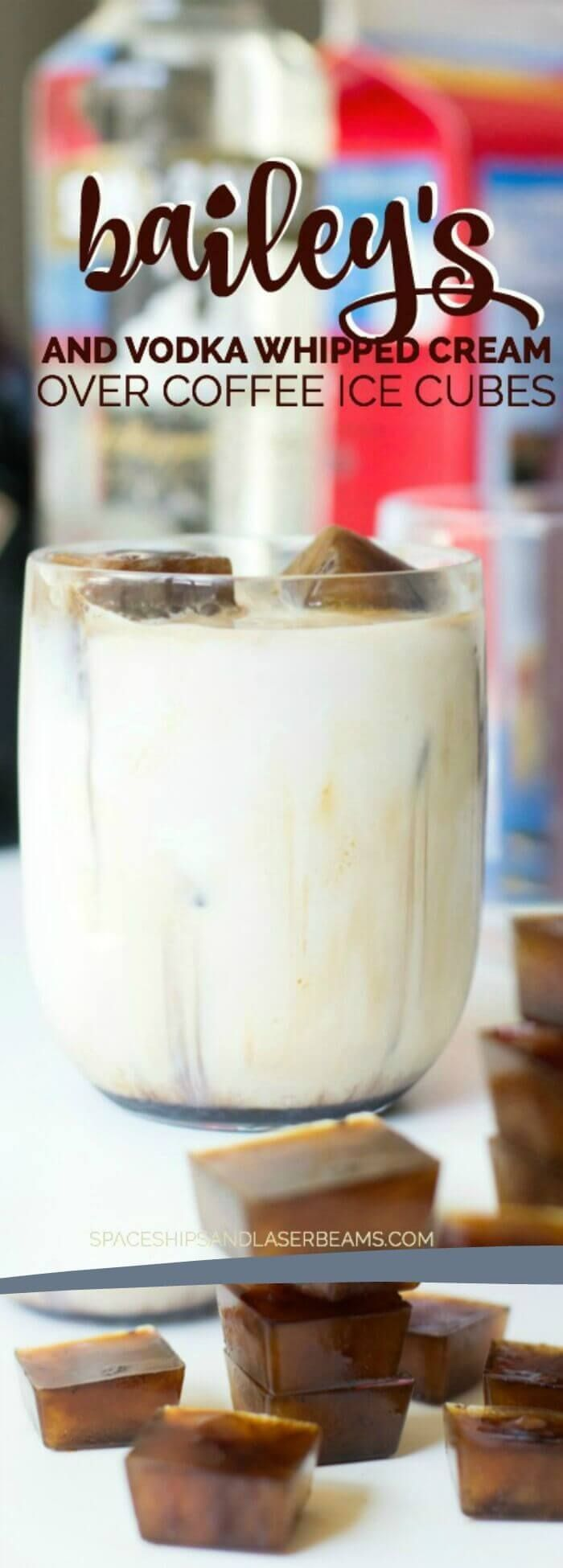 Bailey's & Vodka Whipped Cream with Coffee Ice Cubes via @spaceshipslb