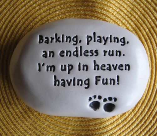 "August Ceramics Dog Memorial Stone ""Barking Playing An Endless Run "" 