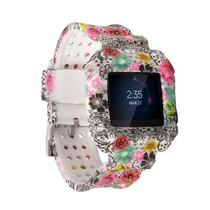 Fitbit Blaze Accessories Band, X4-TECH Silicon Bracelet Strap Replacement Band For Fitbit Blaze Smart Fitness Watch (New Flower-01)