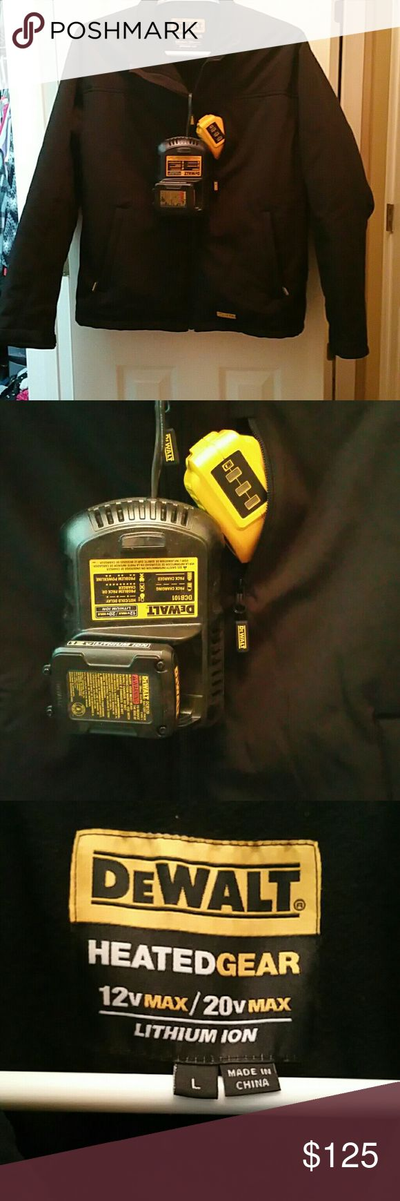 Men's DeWalt 4 Zone LED control temp. Jacject 4 heating zones within the jacket. LED control with three temperature settings plus a preheat option. Routing ports for USB cable for cell phone charging. I purchased it for my husband but he absolutely will not wear it. It's a great hope for anyone who works outside any man would appreciate this jacket and I'm going to let it go at a really great deal. The jacket was purchased without the battery pack, so the battery pack was an additional 50 to…
