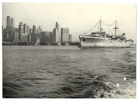 SS General Black, the first boat with immigrants arriving in New York in accord with the law on DPs of 1948.
