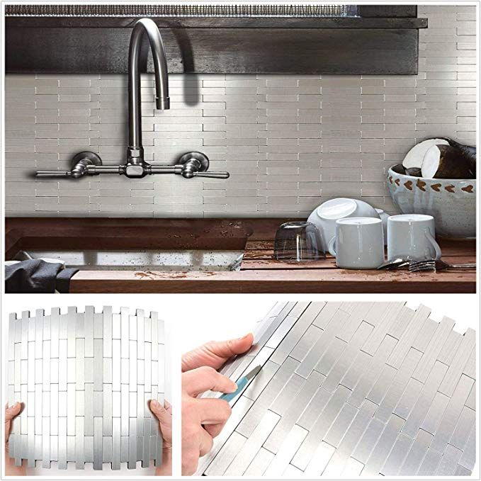 Amazon Com Homeystyle Subway Stripe Puzzle Peel And Stick Tile Metal Backsplash For Kitchen Bathroom Stove Metallic Backsplash Peel And Stick Tile Backsplash