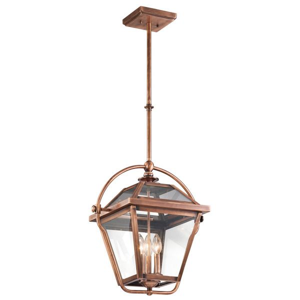 Kichler Lighting Ryegate Collection 3-light Antique Copper Indoor Lantern Pendant