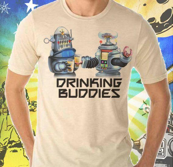 B9 and Robbie Robot Drinking Buddies Men's Cream T-Shirt