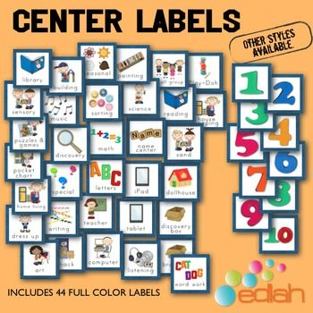 Center labels for my preschool class. These ones are blue but there are several other colors available from edlah.com