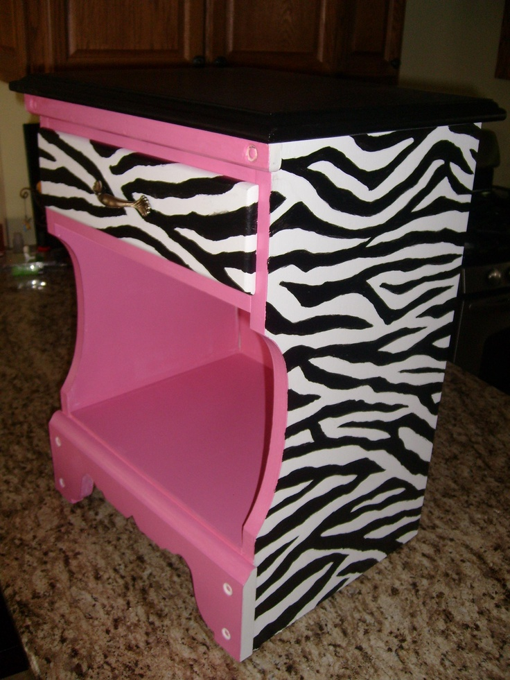 my granddaughter likes zebra print pink so i repainted her nightstand for her room