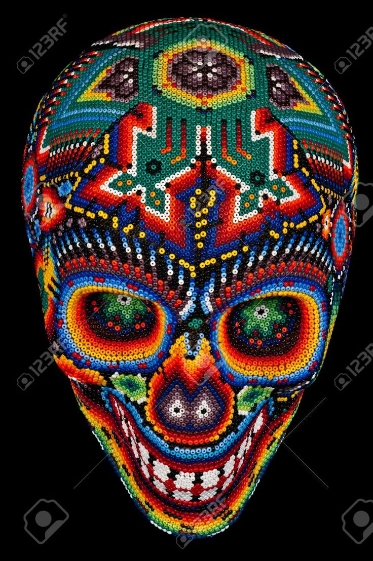 Ha hanging bead curtains for doorways - Beaded Skull Isolated On Black Royalty Free Stock Photo