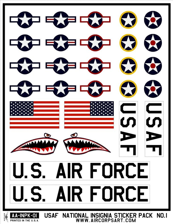 USAF Sticker Pack Air Force Insignia Star and Bars Etsy