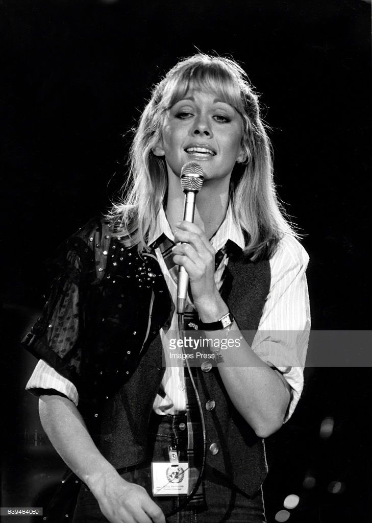 Olivia Newton-John performing at the Music for UNICEF charity concert: A Gift of Song circa 1979 in New York City.