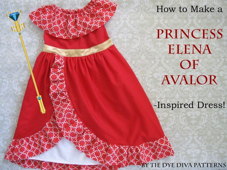 """Got a little princess determined to be Elena of Avalor for Halloween? You can use our Daydreamer Dress pattern as a good starting point! Elena's signature dress has a neckline ruffle, an ankle-length layered skirt with a ruffle-edged cutaway and a slim waist with a gold belt. (If you want to get technical, Elena's dress … Continue reading """"How to Sew a Princess Elena of Avalor Inspired Dress – Tutorial"""""""