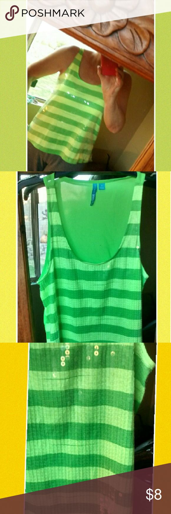 Bright Green striped tank Bright green striped green tank with sequence. Back of shirt is shear. In excellent used condition. Tops Tank Tops