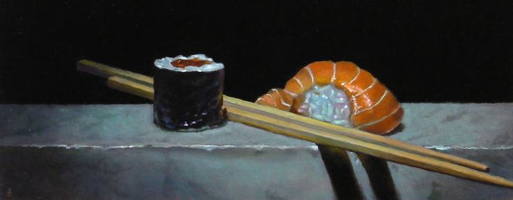 """Today's painting for you: """"Sushi No. 30"""", Oil on Panel, 4x10 inches, 2011 I've painted a lot of sushi in my career. A lot - as you can see from the title of this painting. The narrowly focused lighting from above made this composition especially dramatic. I hope you enjoy it!"""