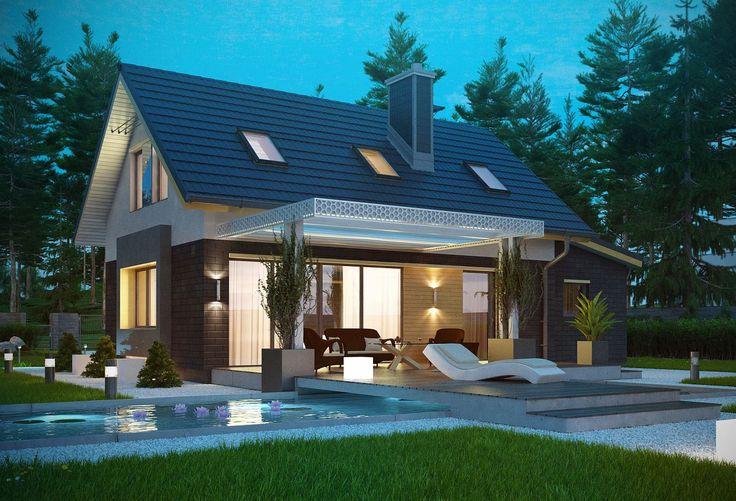 Dom parterowy z poddaszem użytkowym, dwuspadowym dachem i nowoczesną elewacją klinkierowo-drewnianą - widok od ogrodu. #projekty #domów