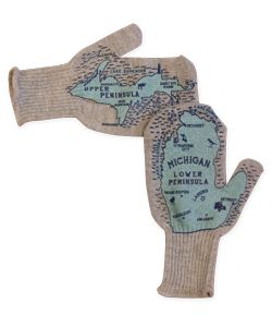 These grey mittens are manufactured in the United States and designed, printed and packaged in Pontiac, Michigan.